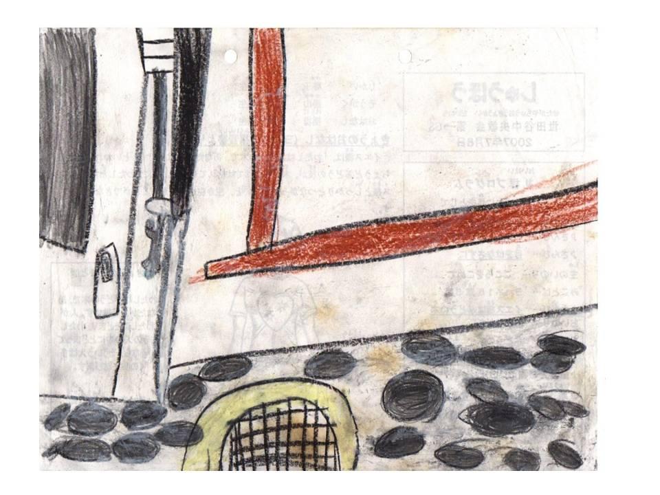 排水溝と黒タイルとドア(2007)